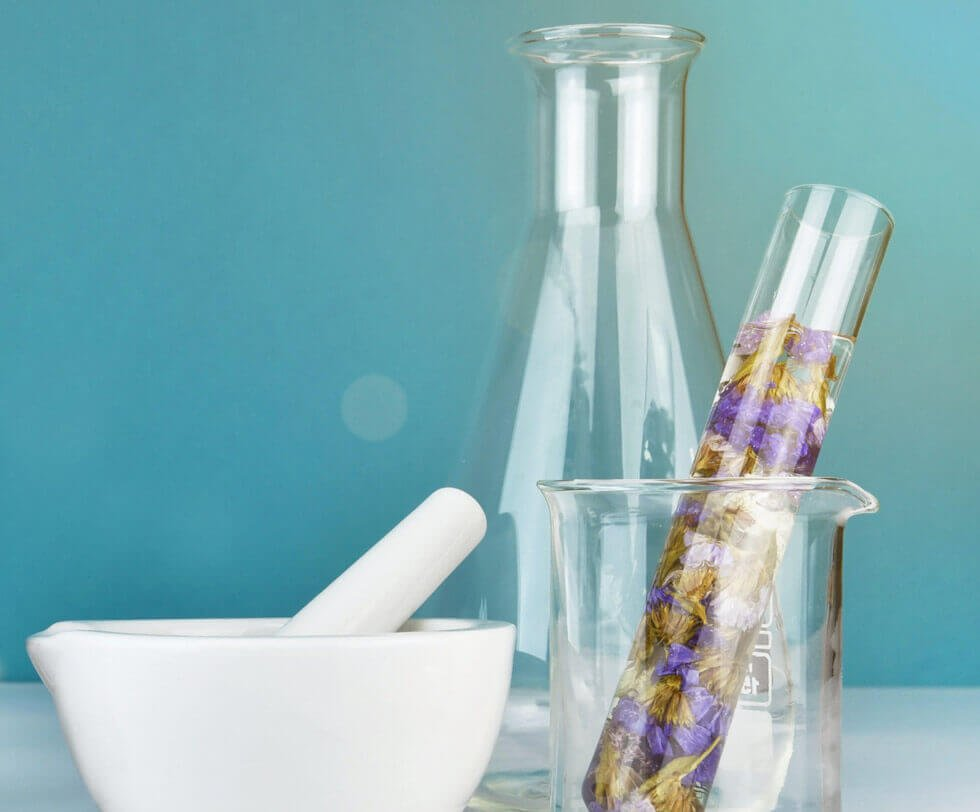 Creating floral fragrance using beakers and mortar & pestle